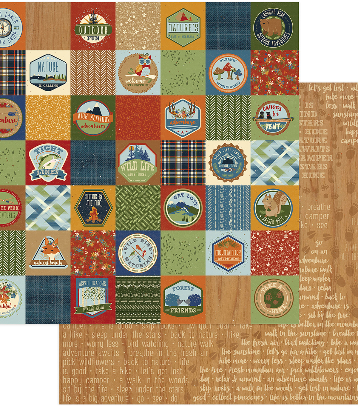 Campfire Double-Sided Cardstock 12\u0022X12\u0022-Badges