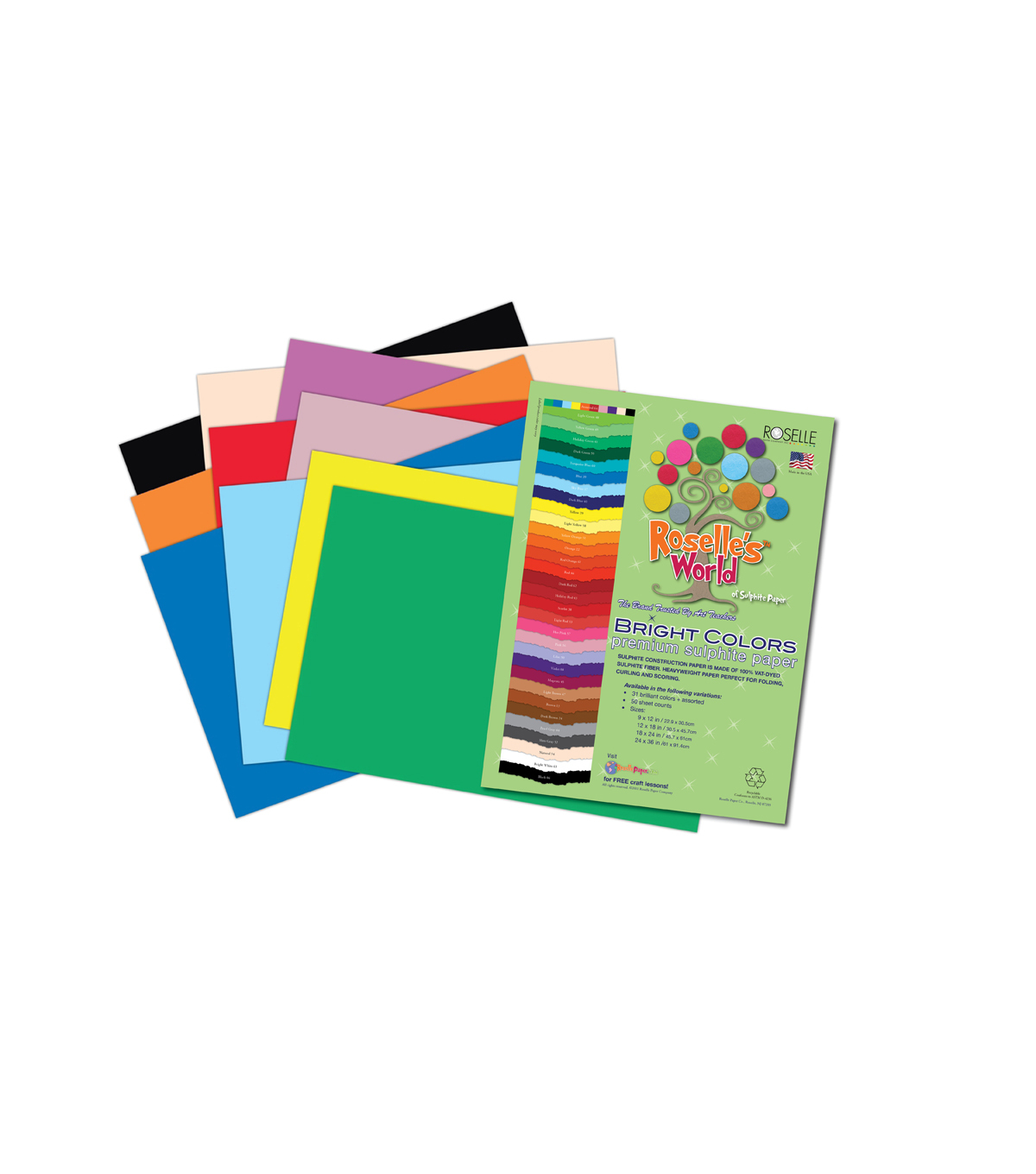 Roselle\u0027s Bright Colors Sulfite Construction Paper 9\u0027\u0027 x 12\u0027\u0027-50 sheets Assorted Colors