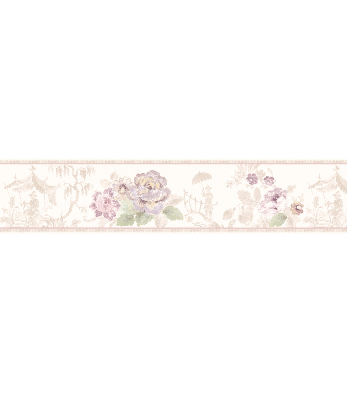 Toile Scenic Floral Wallpaper Border, Multicolor Sample