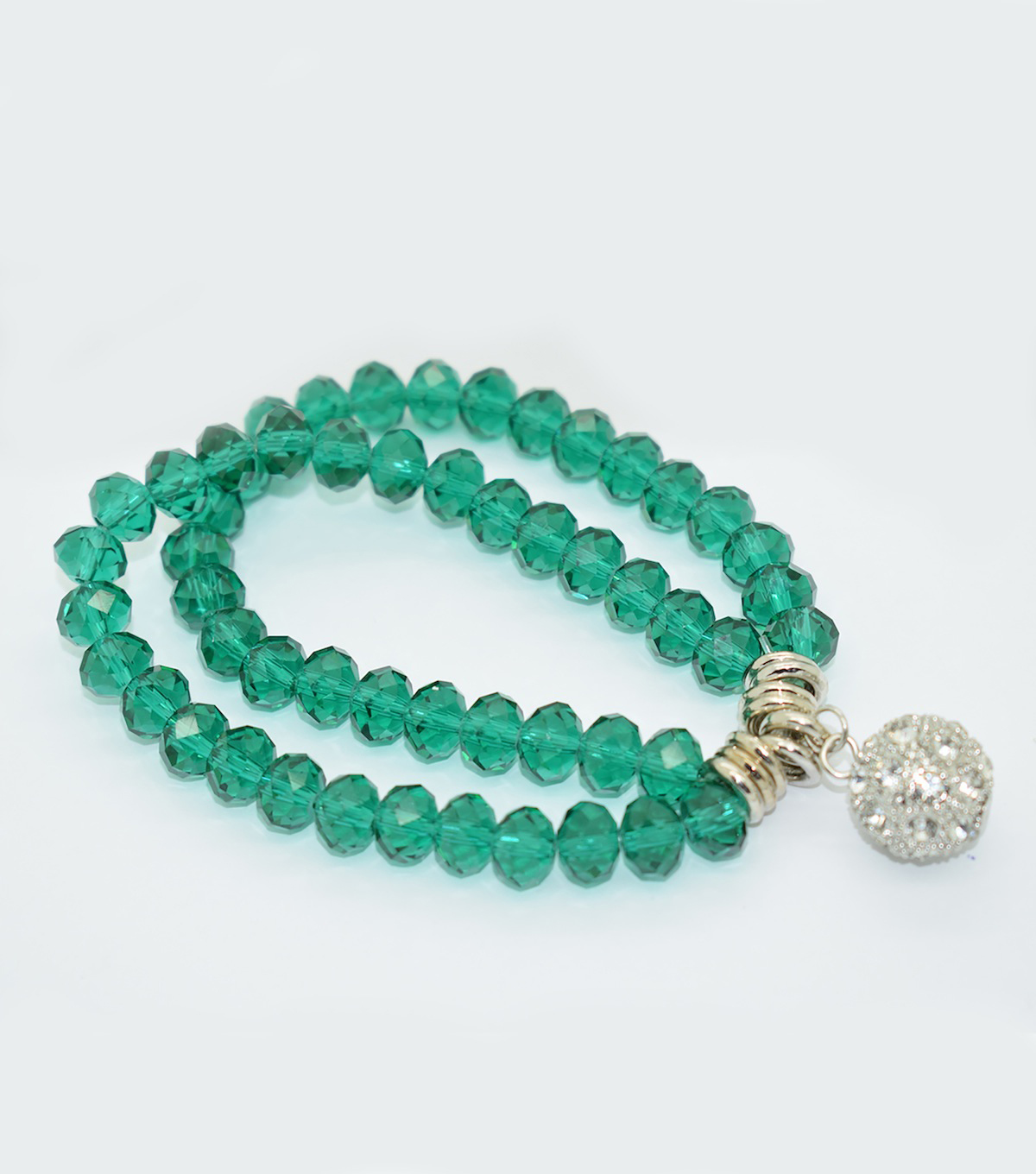 Crystal Two Line Drop Bracelet-Teal