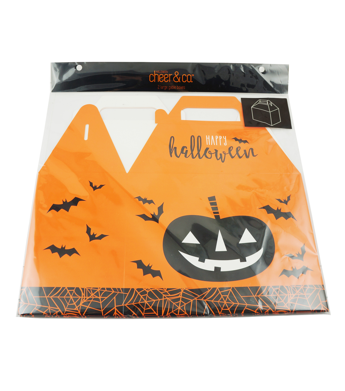 Cheer & Co. Halloween 2 pk Large Gable Boxes with Window-Pumpkin & Bats