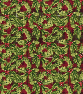 Christmas Cotton Fabric 43\u0022-Packed Holly Plaid