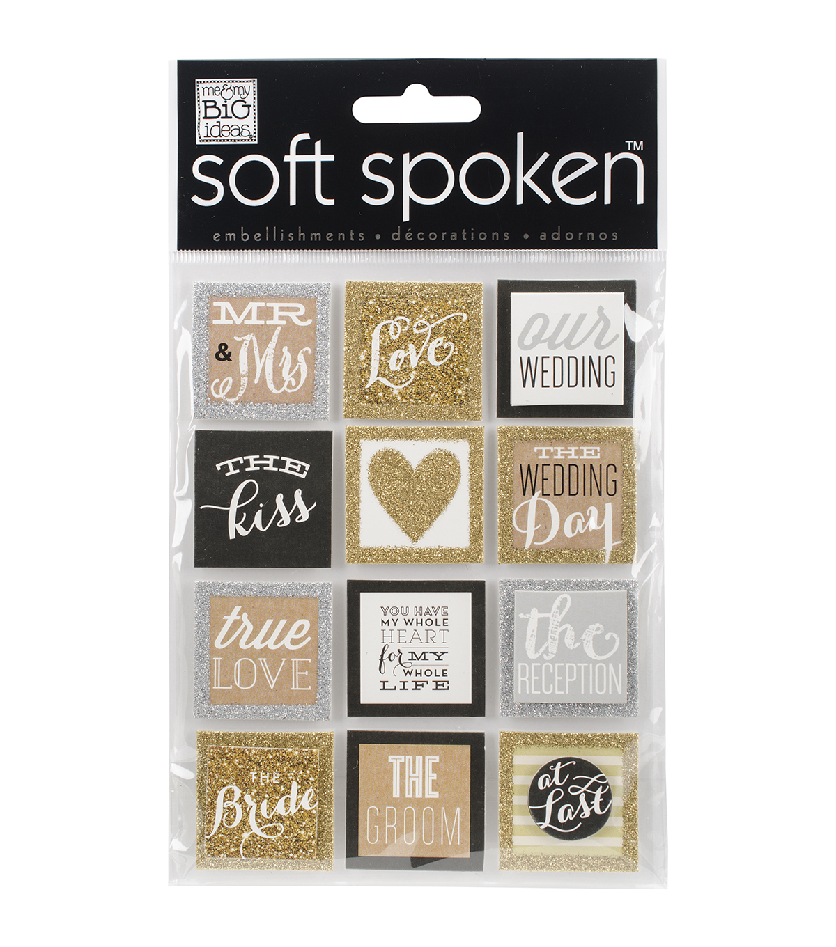 Me & My Big Ideas® Soft Spoken Themed Embellishments-Gold Love