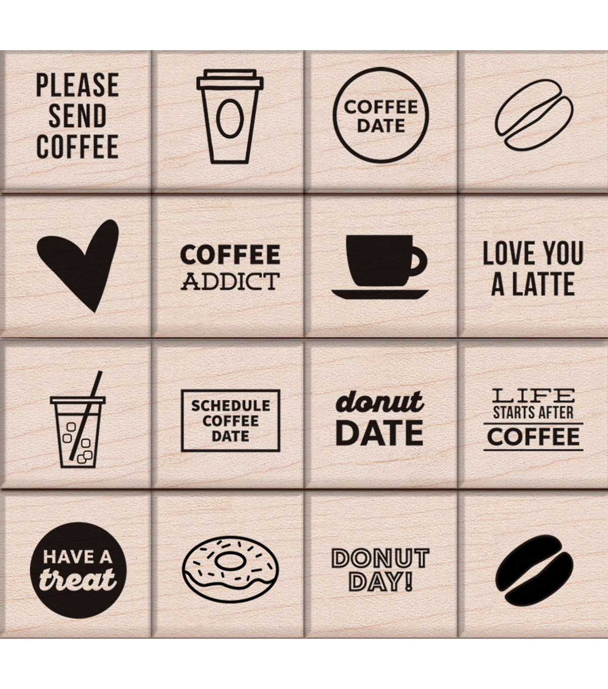 "Kelly Purkey Mounted Rubber Stamp Set 3""X3""-Coffee & Donuts"
