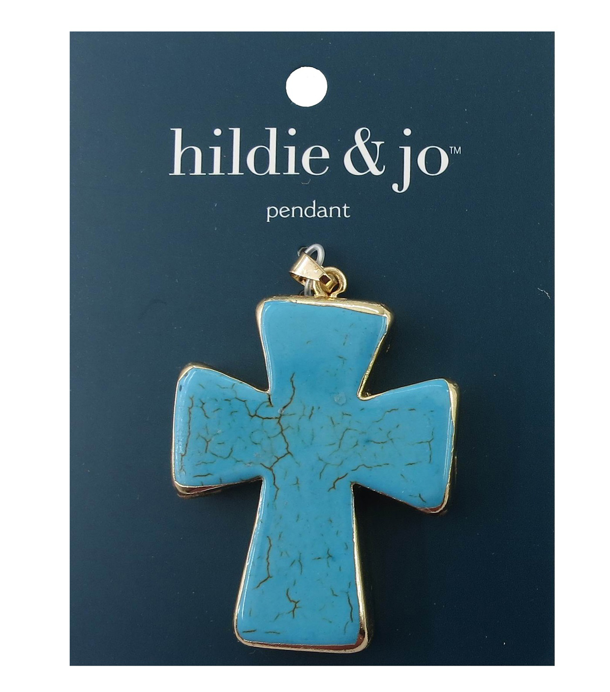 hildie & jo™ 1.88''x1.5'' Cross Gold Pendant-Turquoise