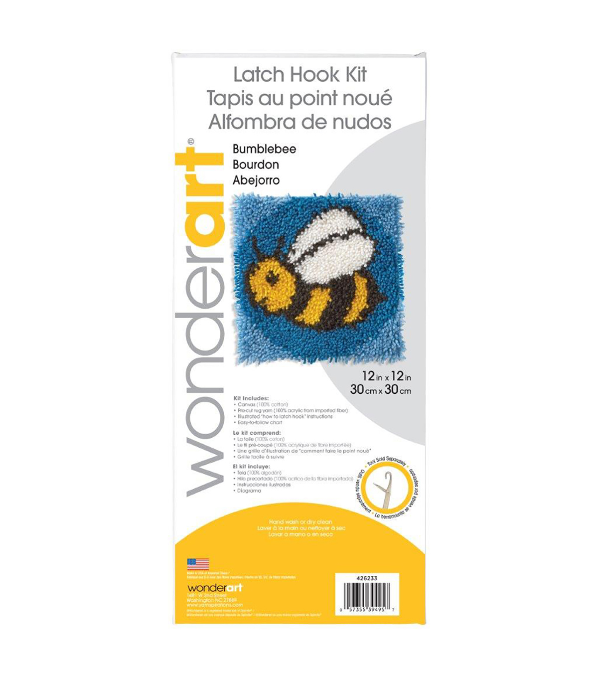 Wonderart Latch Hook Kit 12\u0022X12\u0022-Bumblebee