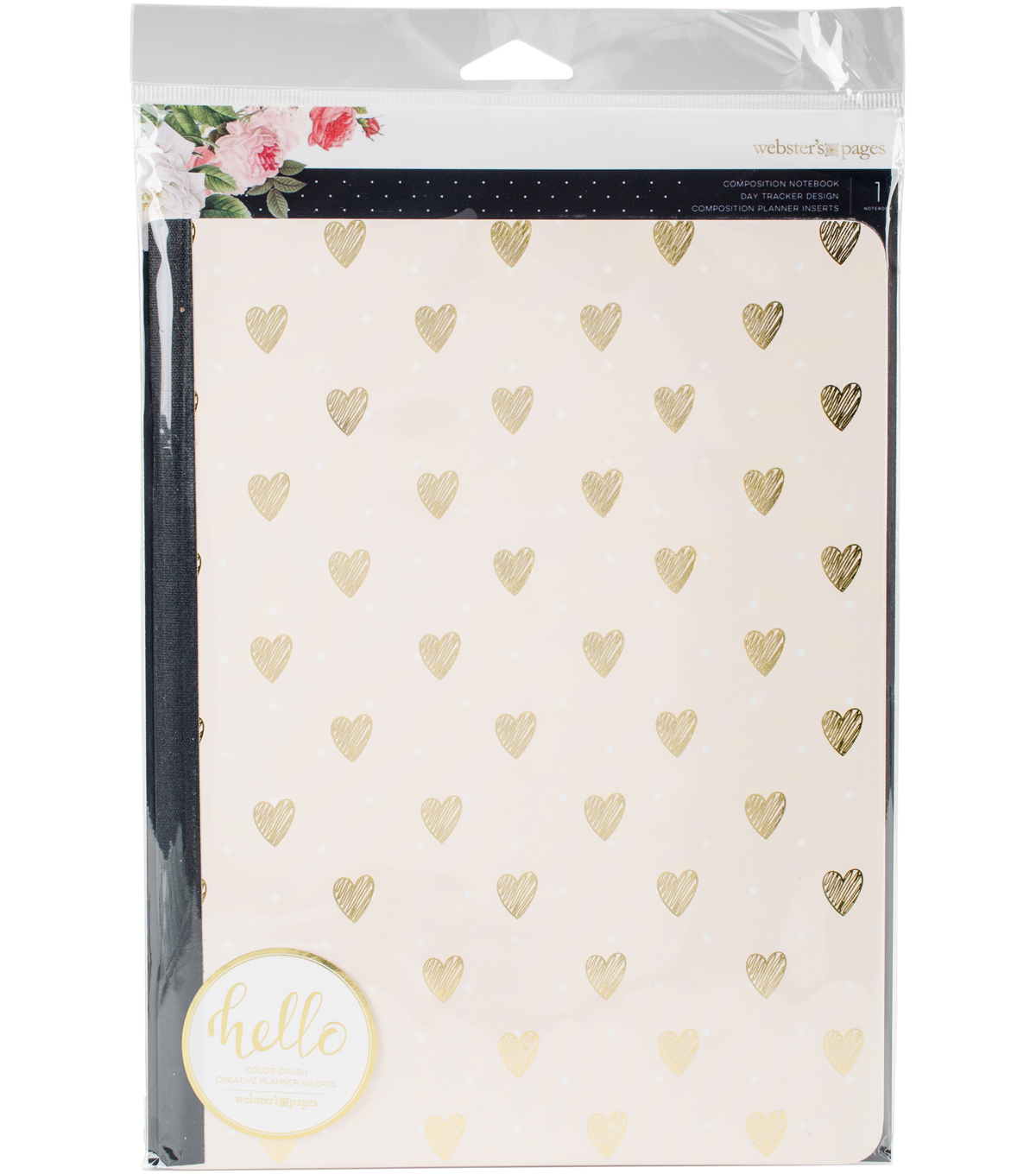 Composition Planner Notebook 7.5\u0022X9.7\u0022-Gold Heart Day Tracker