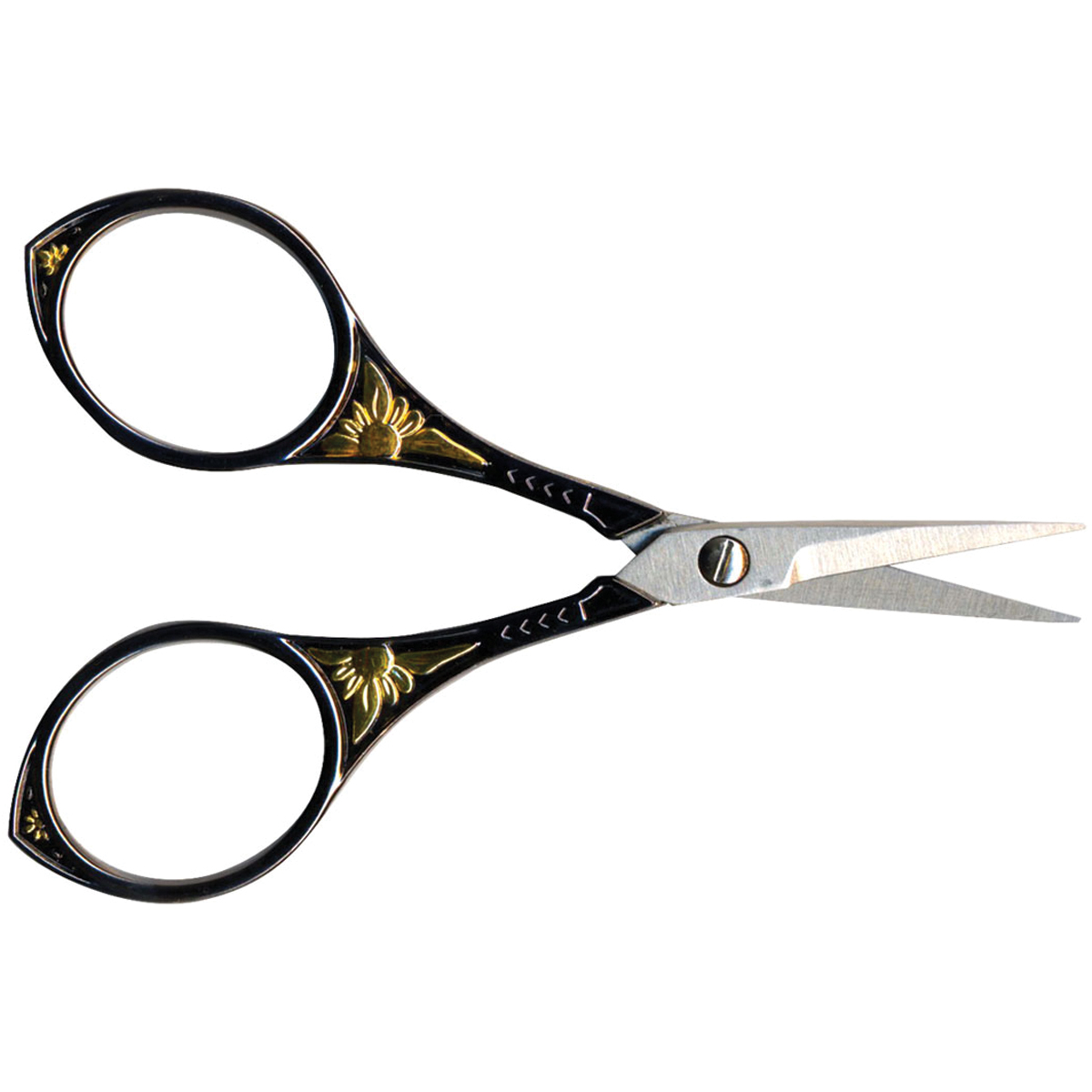 Stainless Steel Embroidery Scissors 4\u0022-Gunmetal With Gold Round