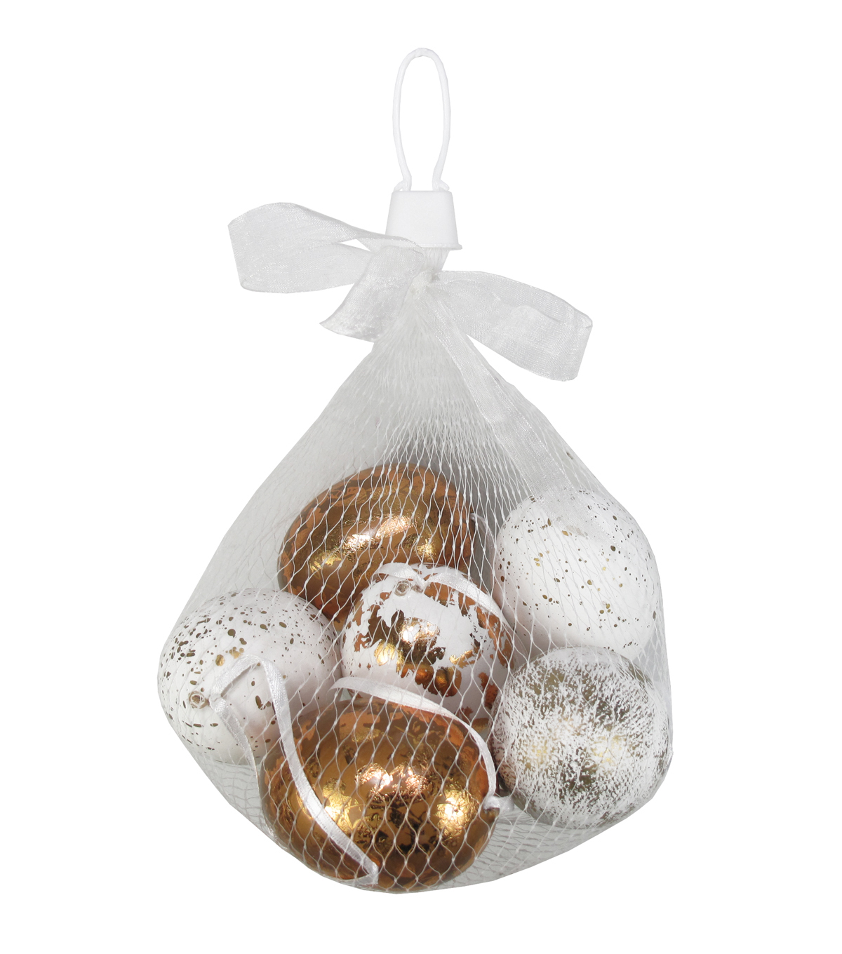 Easter 6pcs Eggs in Mesh Bag-Gold And White Speckles