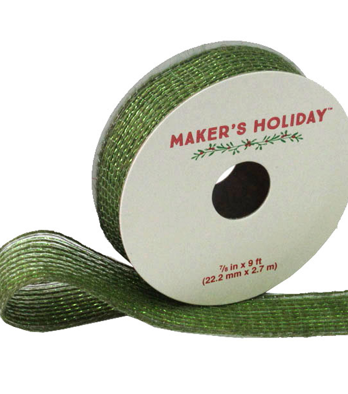 Maker's Holiday Metallic Jute Wired Ribbon 7/8''x9'-Green