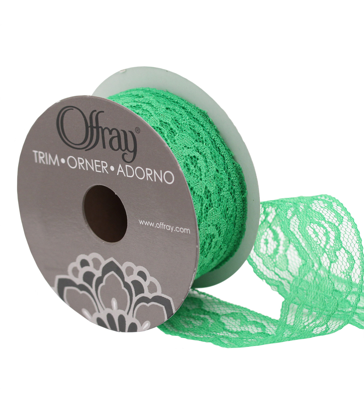 "Empire Lace 1.25"" Green Ribbon"