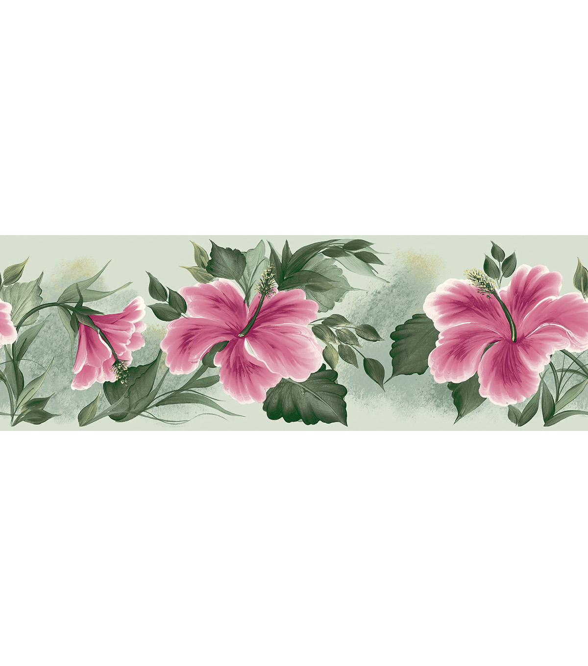 Floral Lily Pad   Wallpaper Border, Green Sample