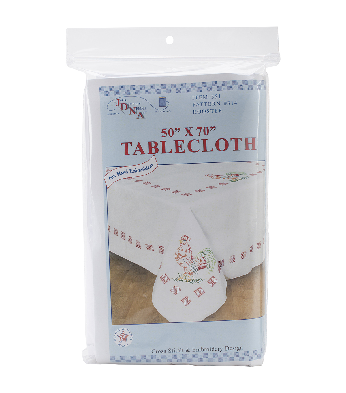Stamped White Table Cloth 50\u0022X70\u0022-Rooster