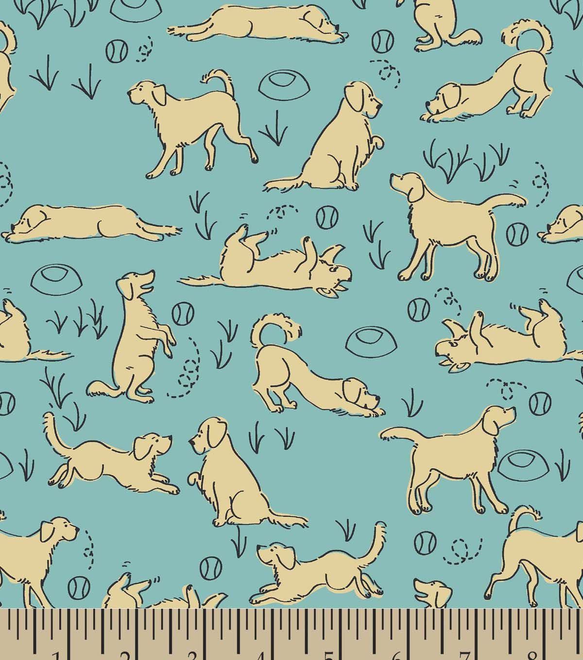Playful Golden Retriever Print Fabric