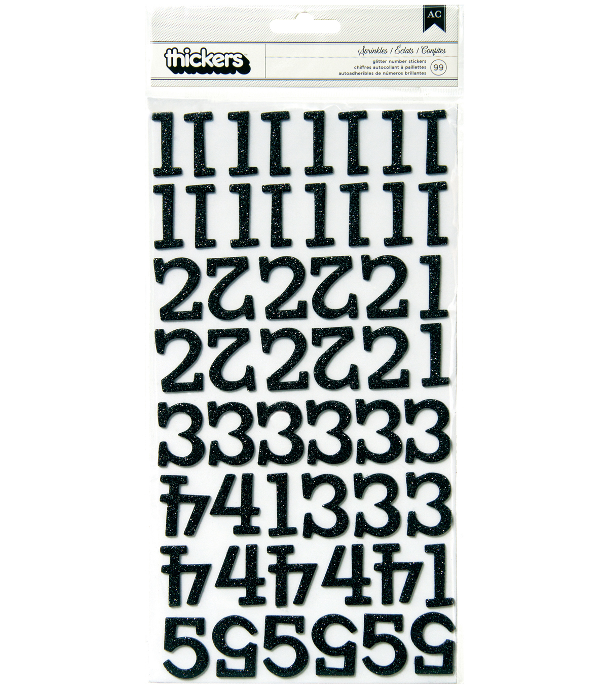 Thickers Chipboard Glitter Stickers-Sprinkles Numbers