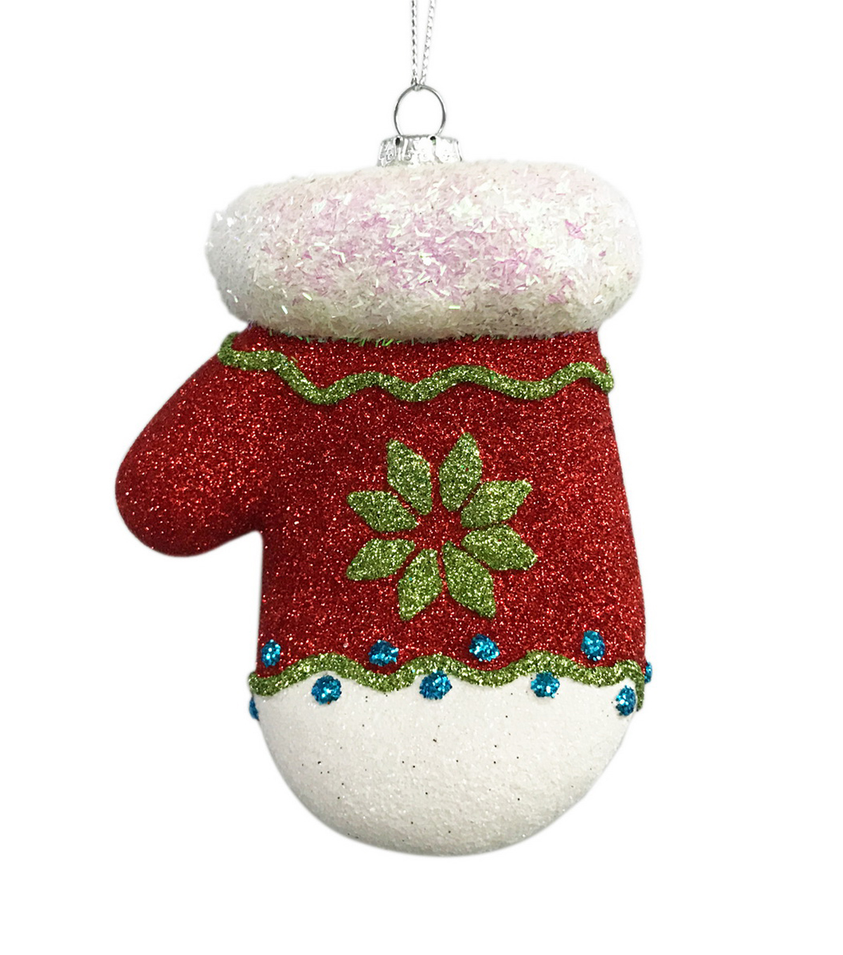 Maker\u0027s Holiday Christmas Whimsy Workshop Glitter Mitten Ornament-Red