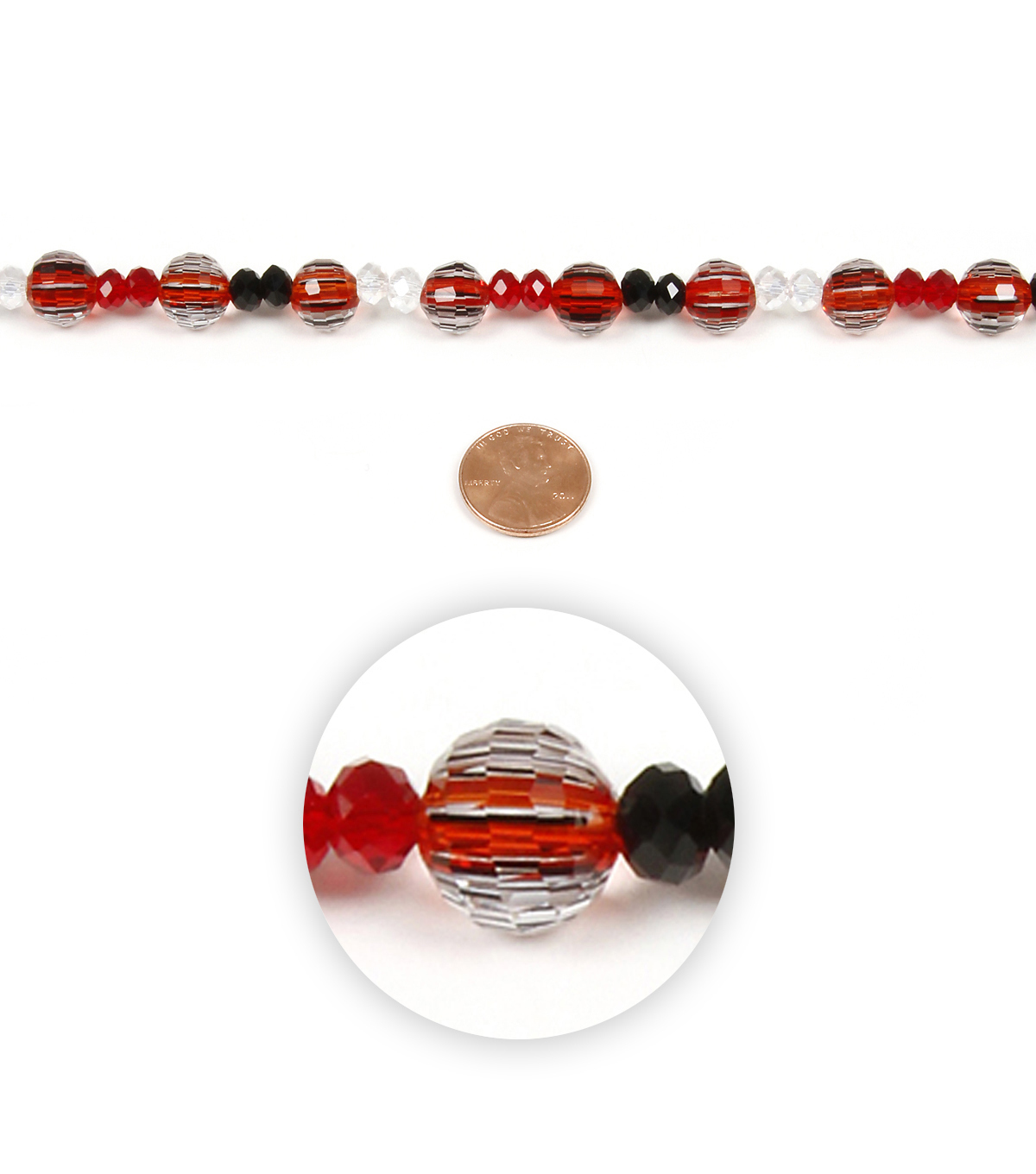 Strand Red White Black Glass