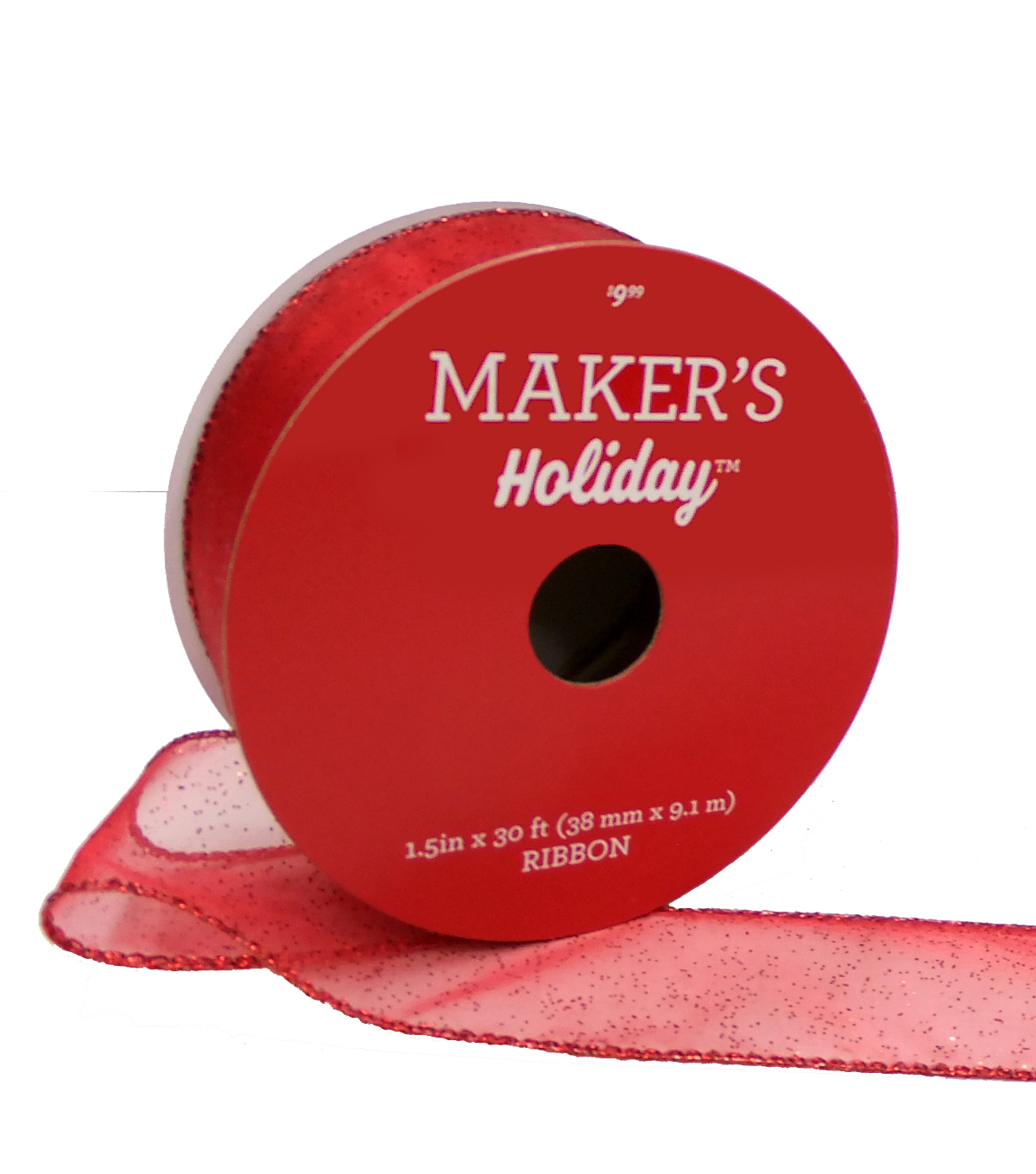 Maker\u0027s Holiday Christmas Sheer Ribbon 1.5\u0027\u0027x30\u0027-Red