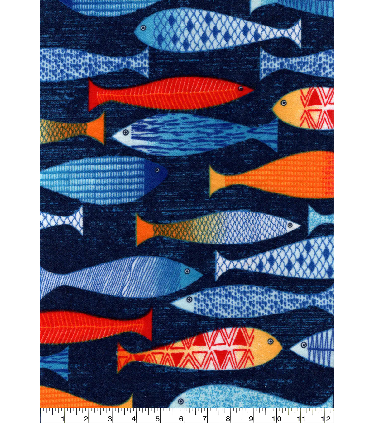 Snuggle Flannel Print Fabric 42\u0022-Painted Fish Pattern