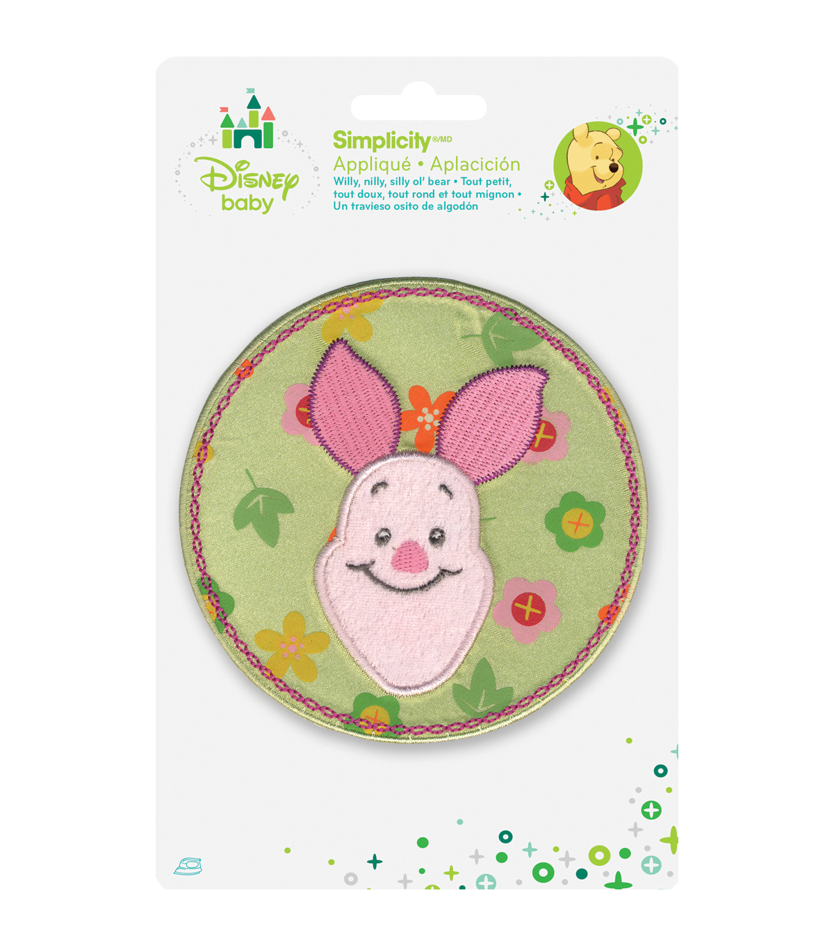 Wrights Disney® Winnie The Pooh® Iron-On Applique Piglet Flower