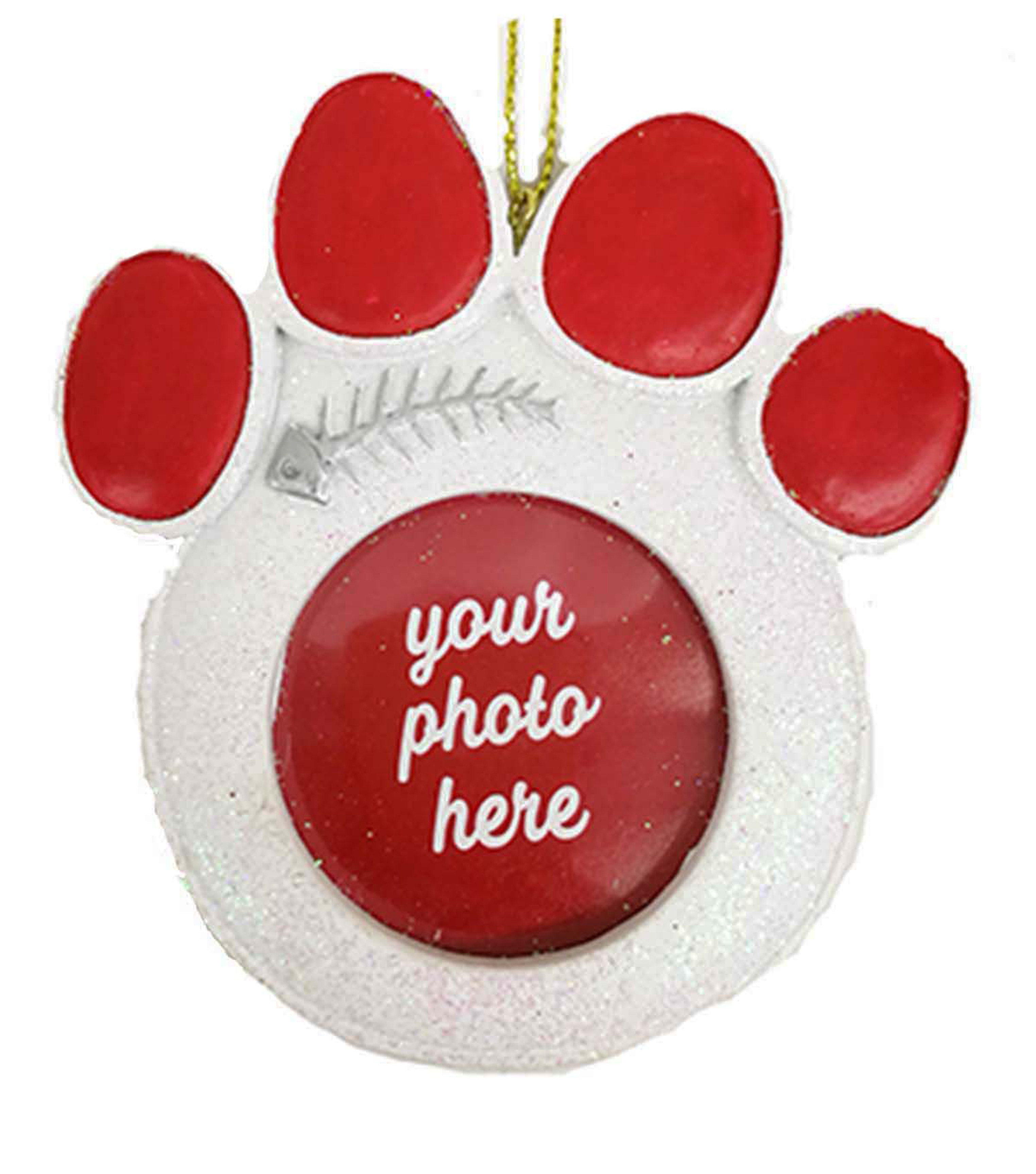 Maker\u0027s Holiday Christmas Cat Paw Print Frame Ornament