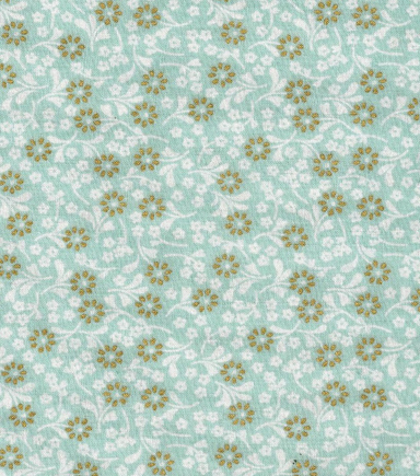 "Keepsake Calico™ Cotton Fabric 43""-Ditsy Floral Mint with Gold Metallic"