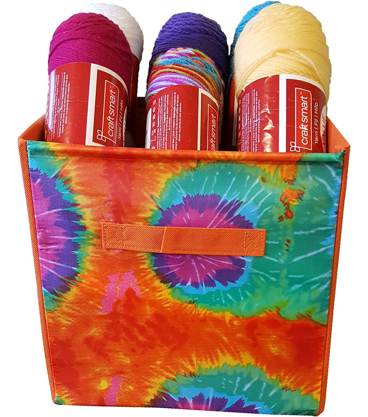 Yarn & Craft Storage Cube 12\u0022X12\u0022X12\u0022-Orange Tie Dyed