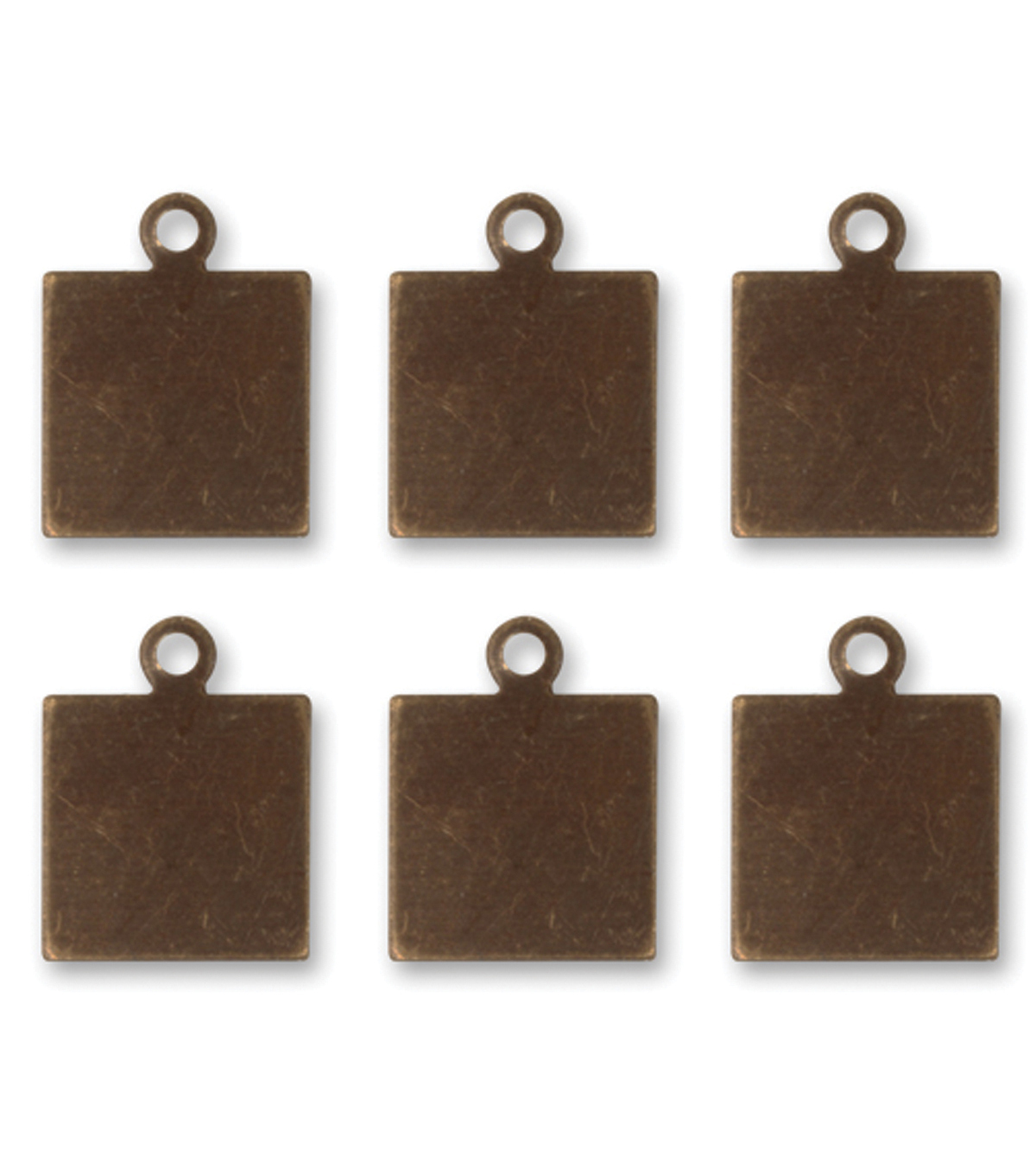 Vintaj Metal Altered Blanks 6/Pkg-Square Tag 9x9mm