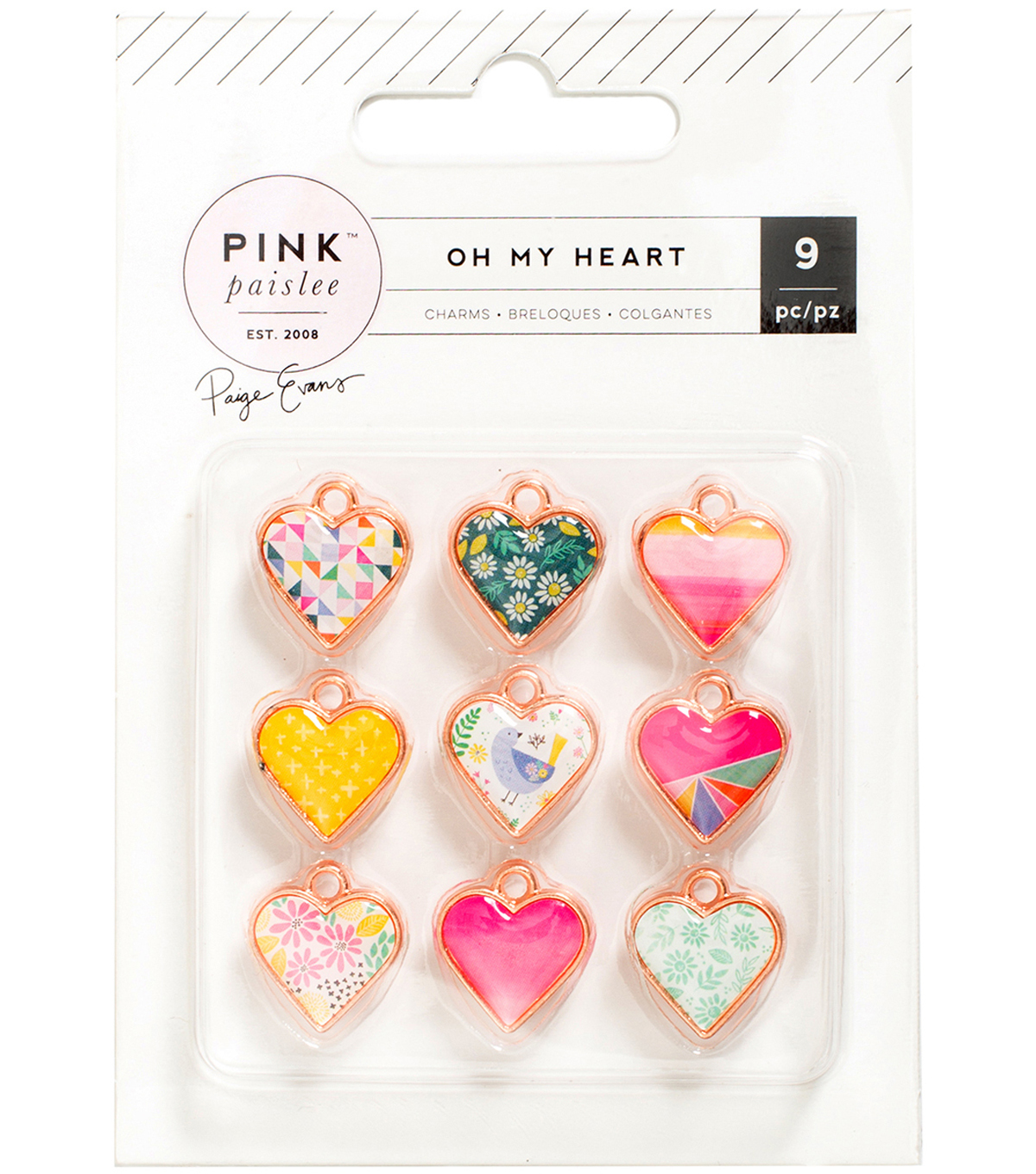 Pink Paislee Oh My Heart 9 pk Rose Gold Metal & Resin Heart Charms