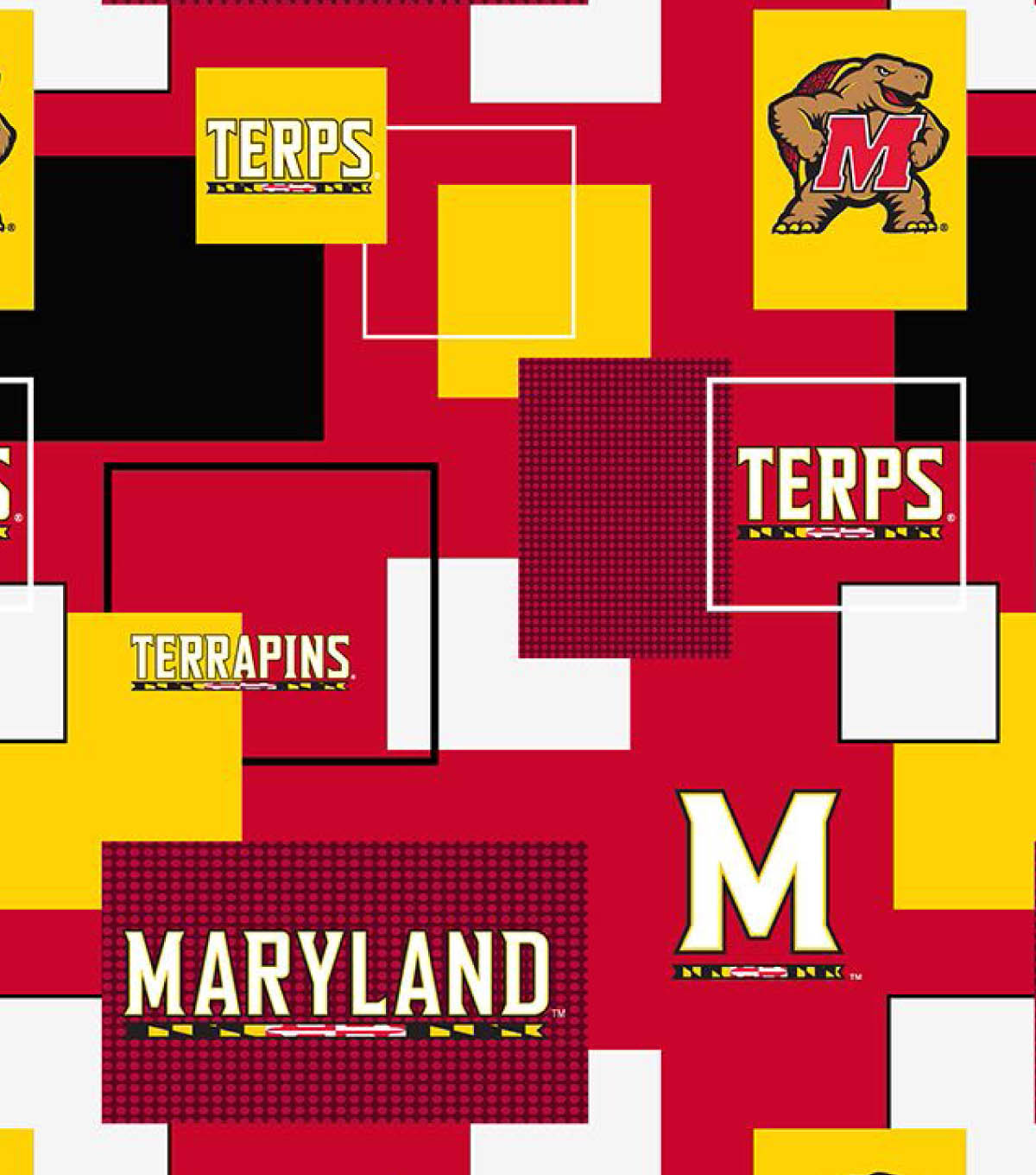 University of Maryland Terrapins Cotton Fabric 43\u0027\u0027-Modern Block