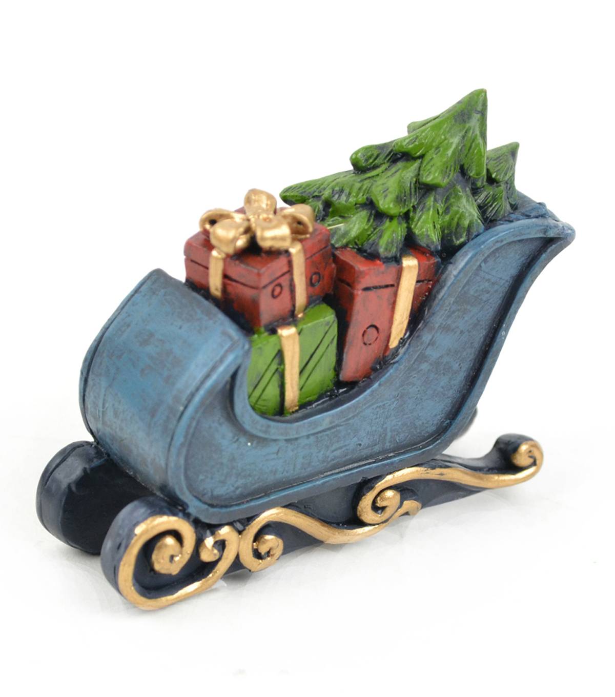 Maker\u0027s Holiday Littles Resin Sleigh with Presents and Tree