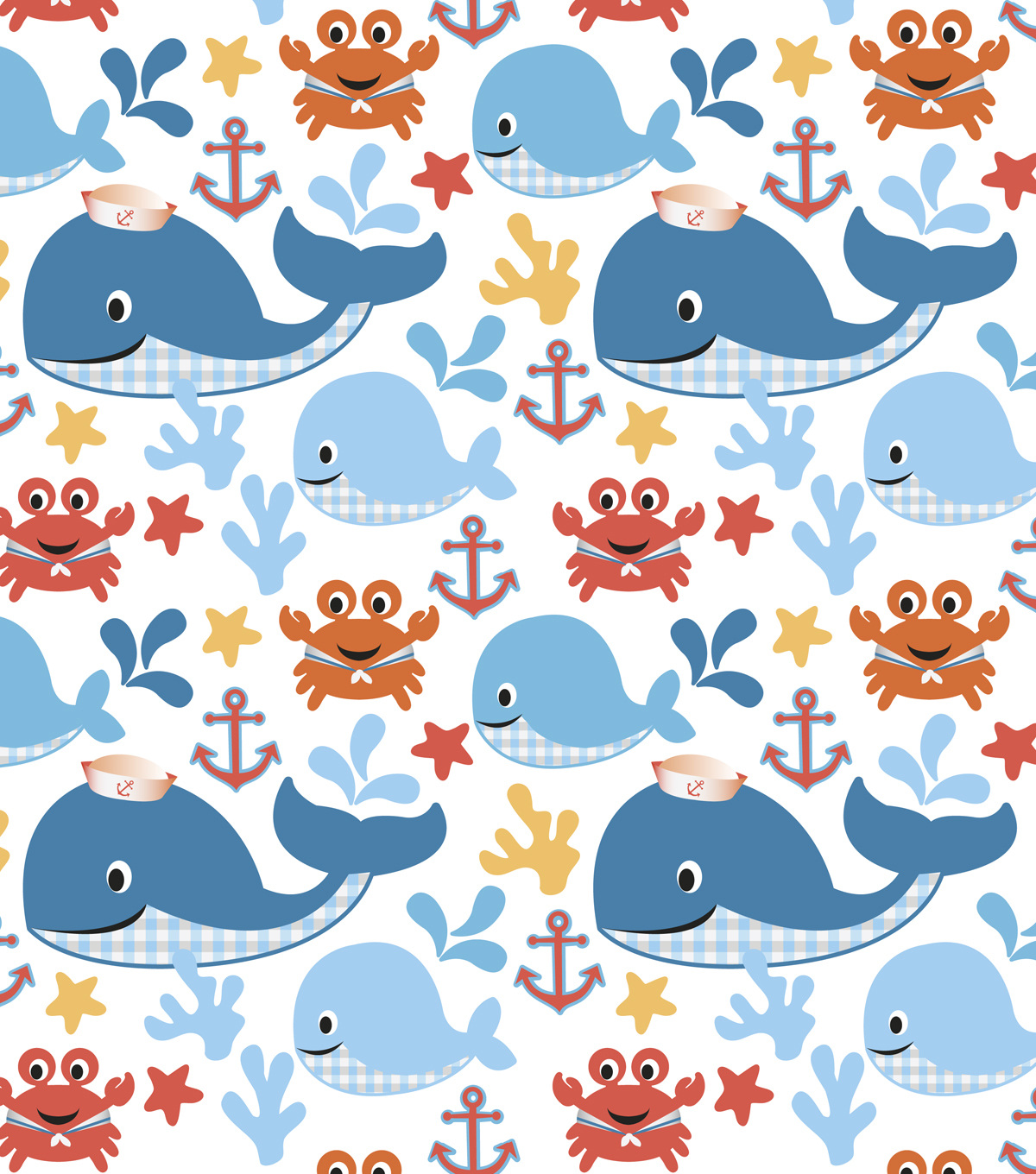 Nursery Cotton Fabric 44\u0022-Sea Buddies