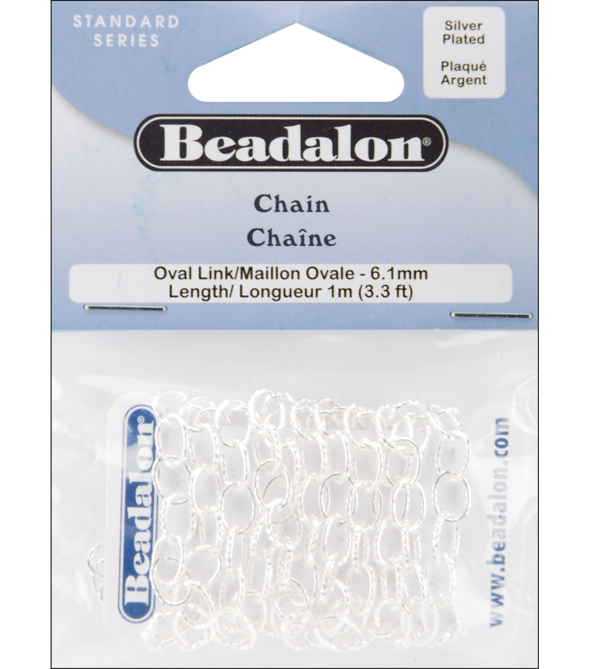Oval Link Chain 6.1mm 3.28\u0027/Pkg-Silver
