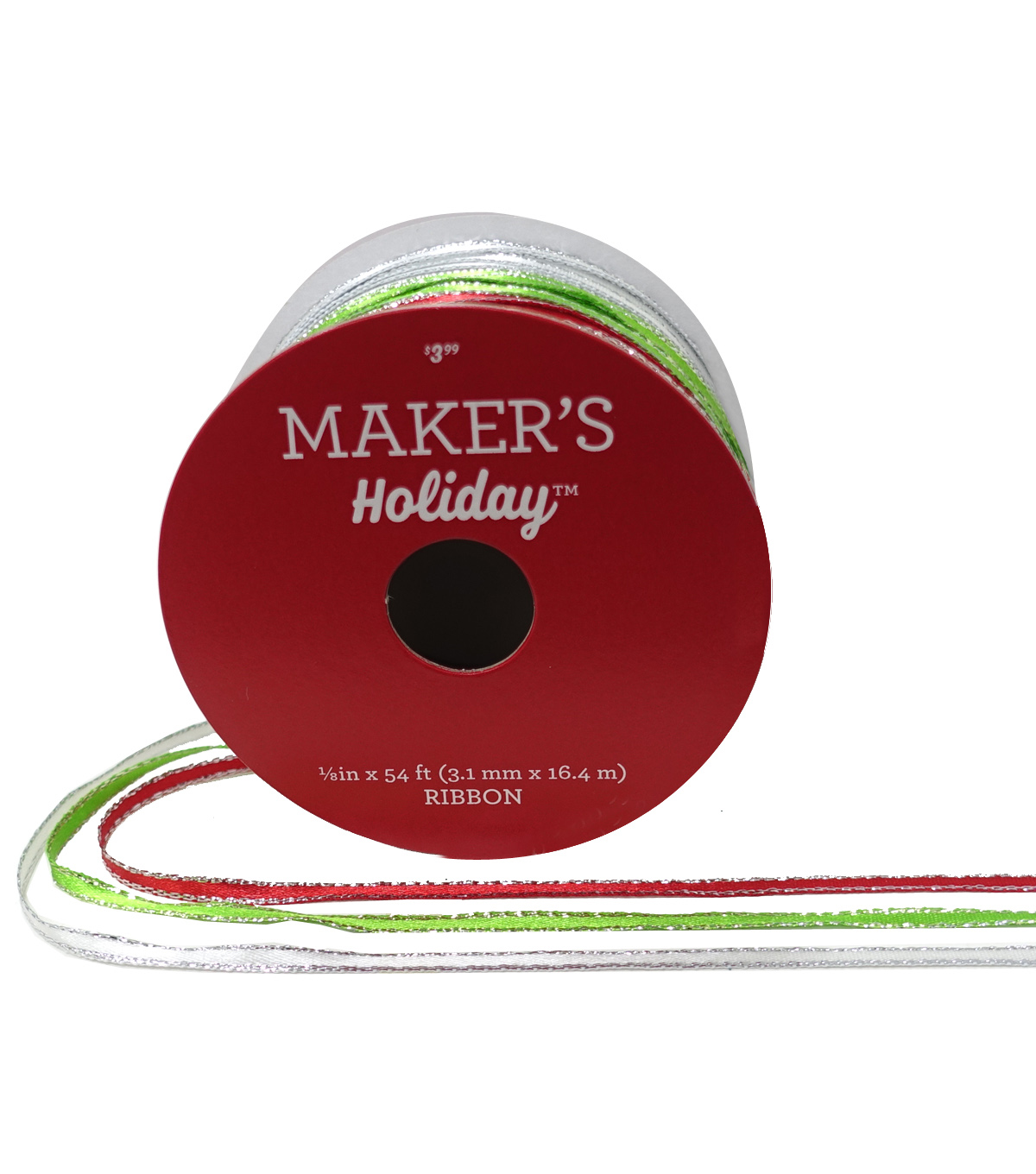Maker\u0027s Holiday Ribbons 1/8\u0027\u0027x54\u0027-Red, Green & White with Silver Edge