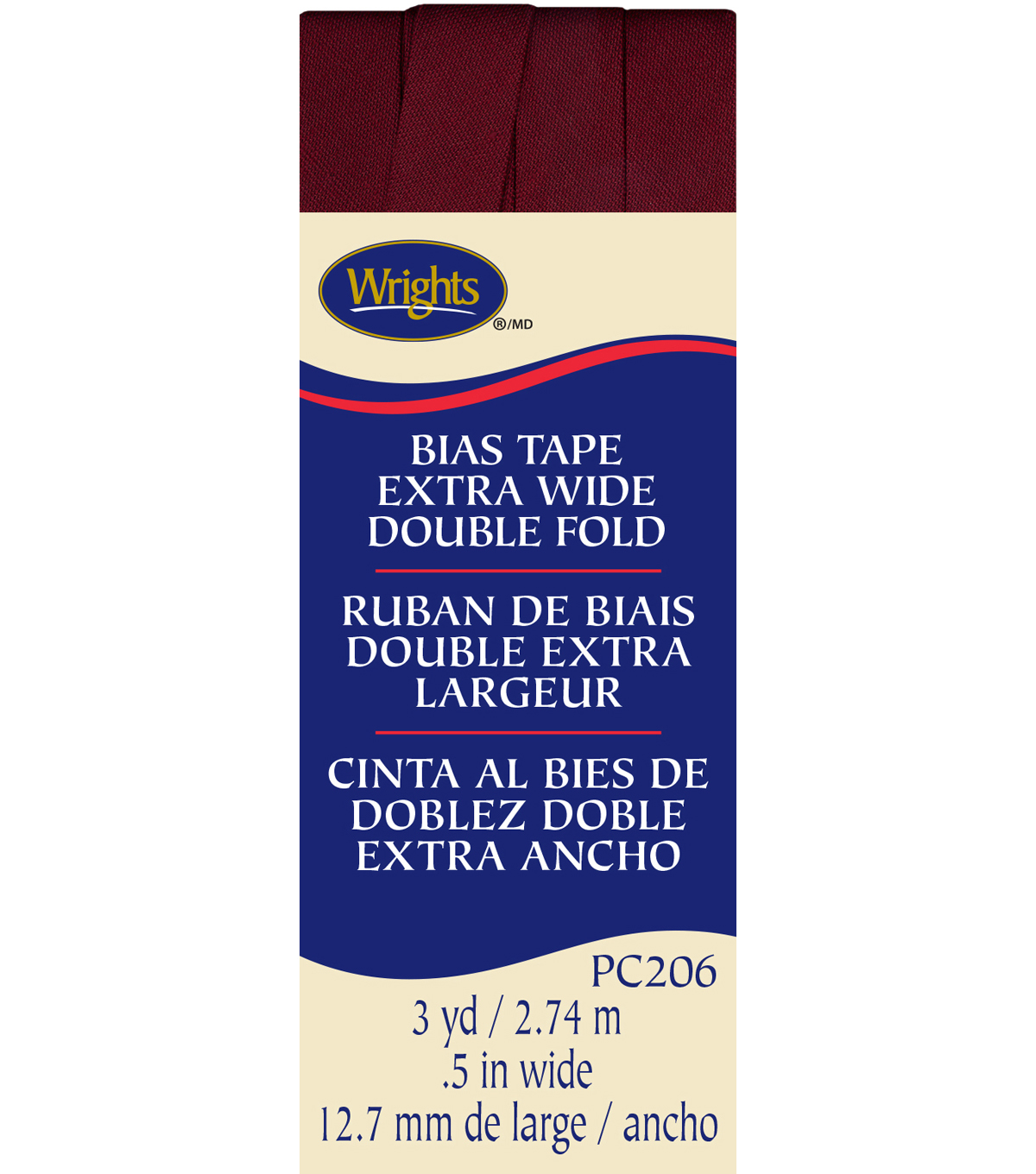 Xwide Double Fold Bias Tape 3Yd Ox Blood
