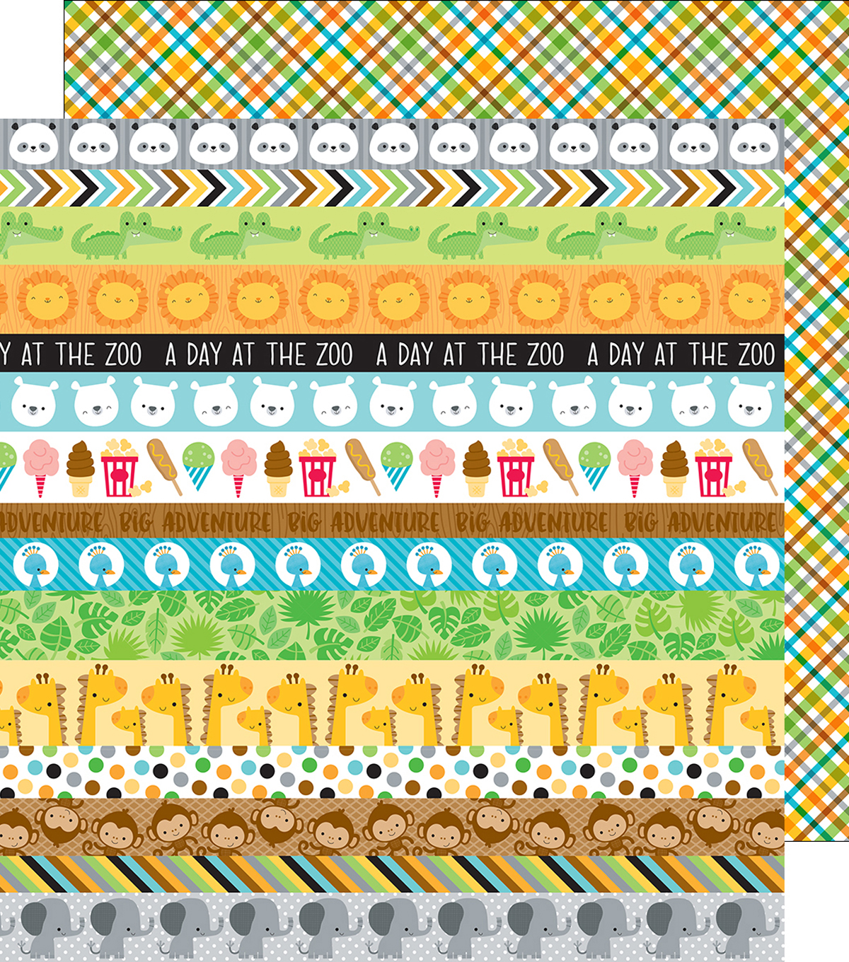 At The Zoo Double-Sided Cardstock 12\u0022X12\u0022-Safari Plaid