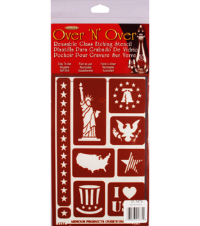 Armour Products Over \u0027N\u0027 Over Reusable Glass Etching Stencil-Patriotic