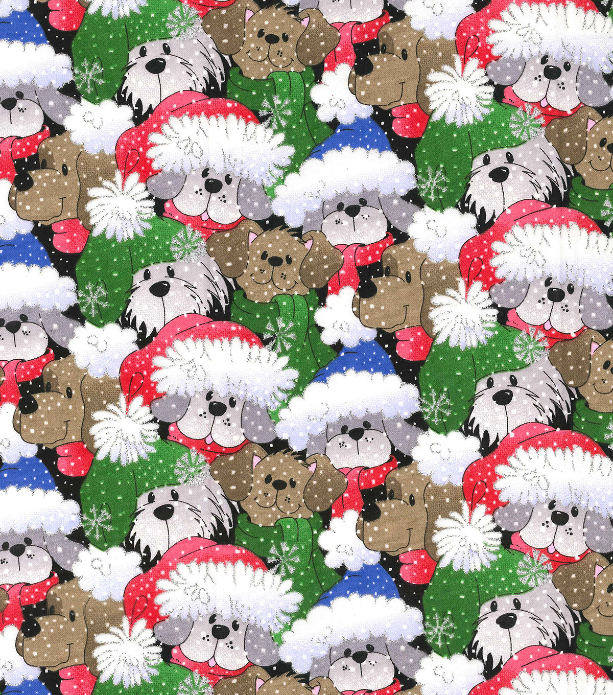Christmas Cotton Fabric 44\u0022-Packed Santa Pups Glitter