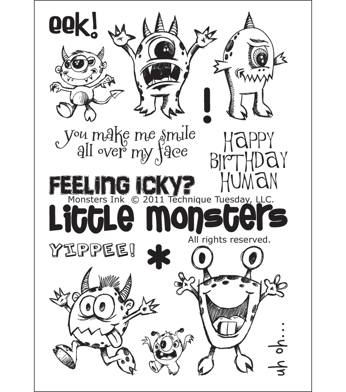 Technique Tuesday Clear Stamps 4\u0022X6\u0022-Monsters Ink