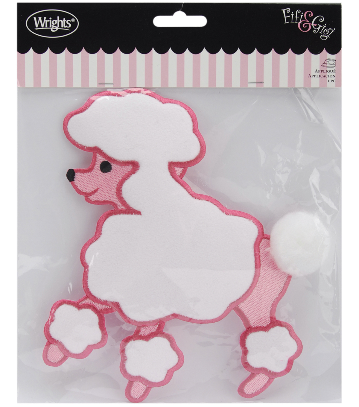 Wrights® Fifi&Gigi Iron-On Applique-Poodle 7-1/4\u0022x6-1/2\u0022-Pink & White