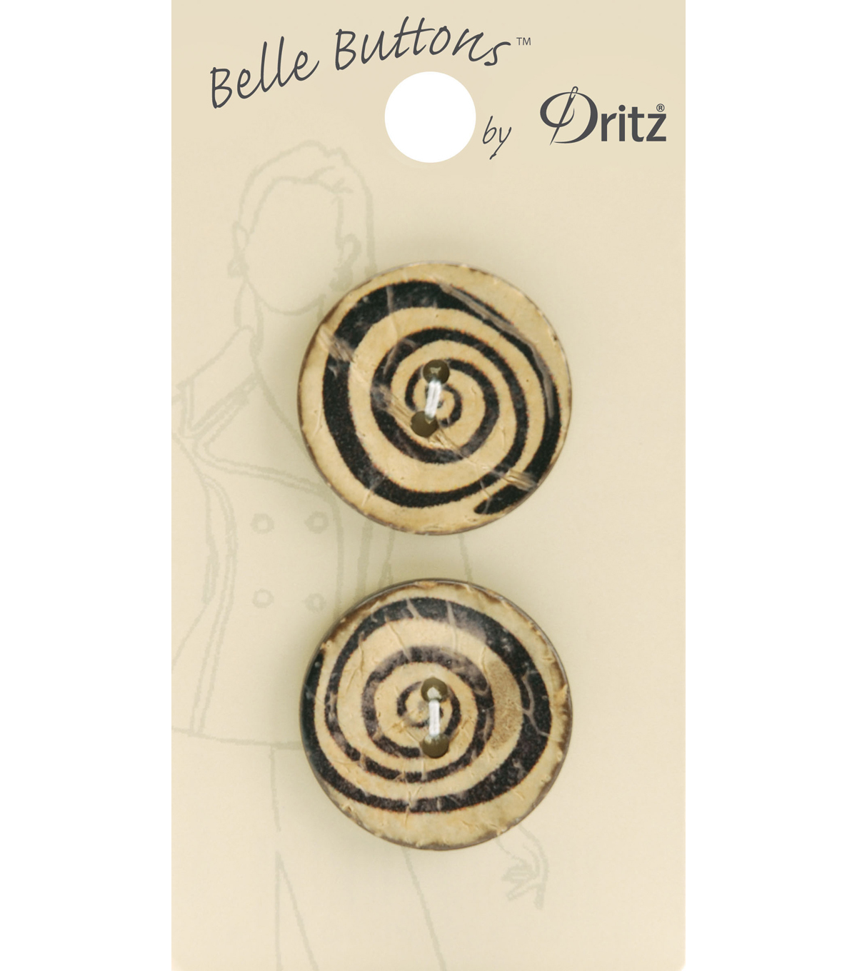 Belle Button-Natural Light Wood Swirl 25Mm