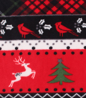 Anti-Pill Fleece Fabric 61\u0022-Red Deer Plaid