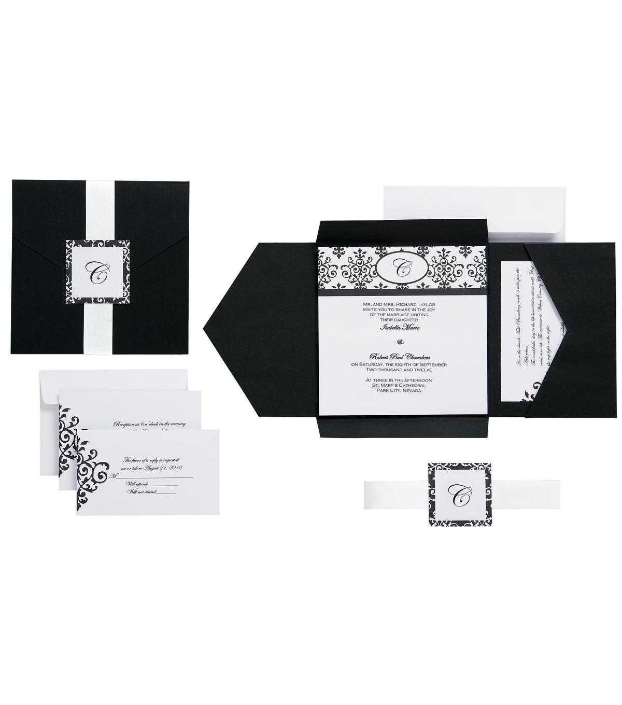 WiltonR 25pk Scroll Monogram Invitation Kit Black White