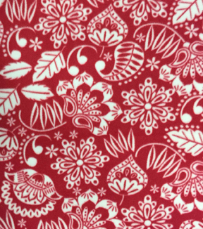 "Anti-Pill Fleece Fabric 59""-Jacob Red Folksie Floral"