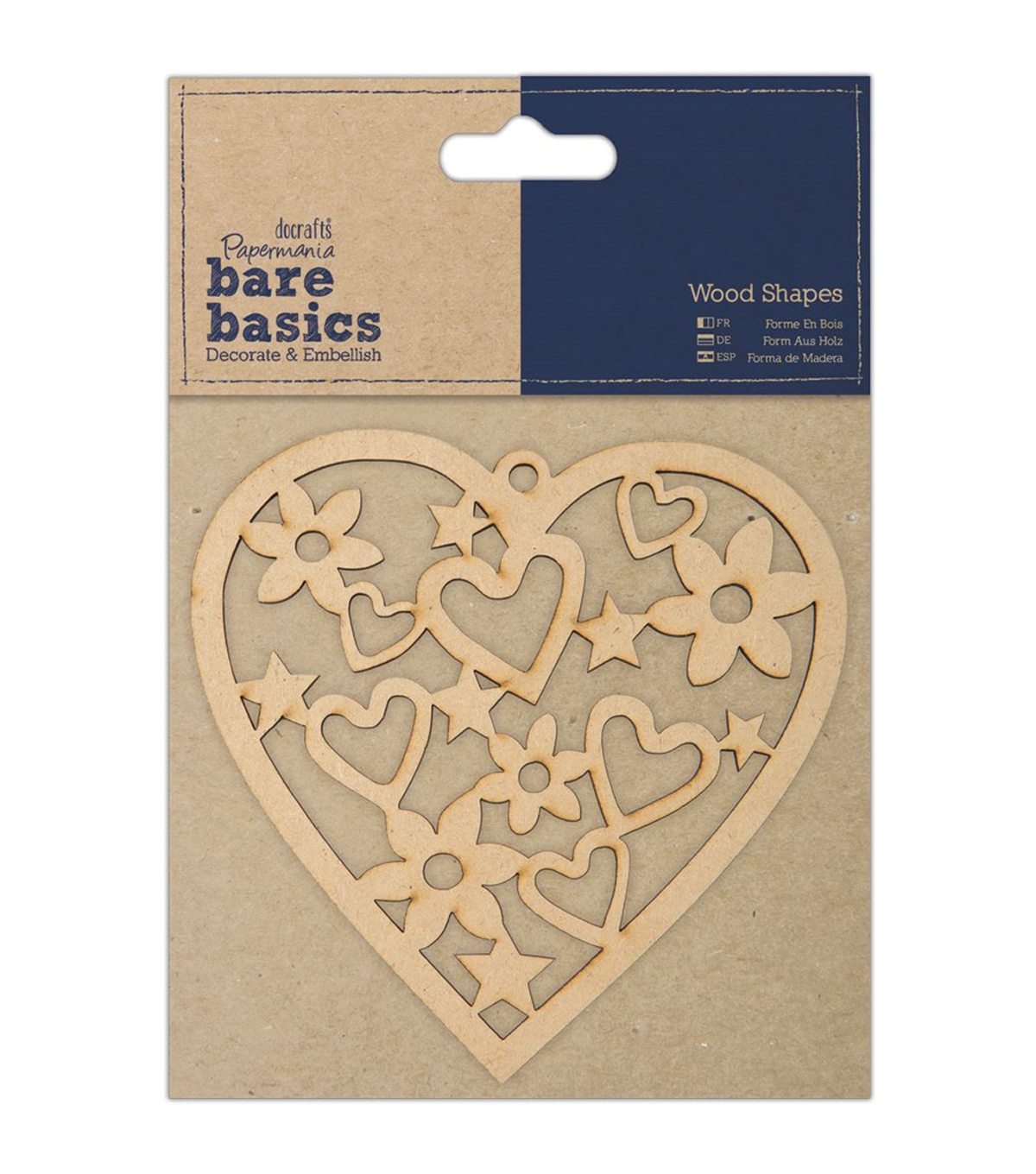 Docrafts Papermania Bare Basics Heart Wooden Shape
