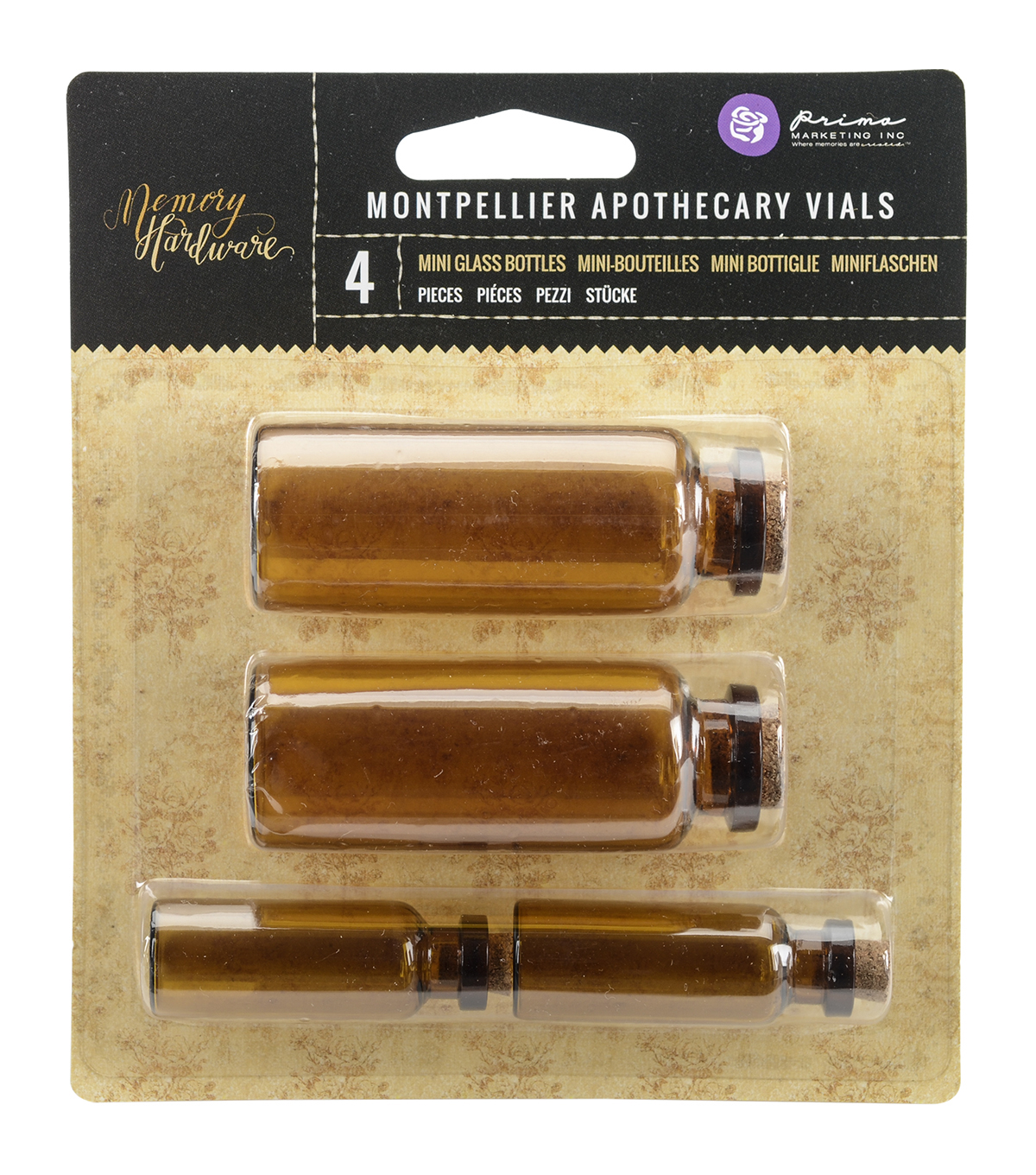Prima Marketing Memory Hardware 4ct Apothecary Vials-Montpellier Amber