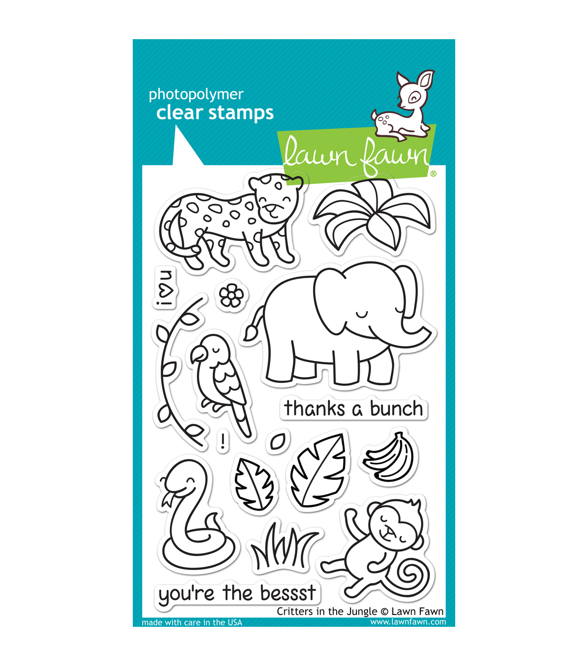 "Lawn Fawn Clear Stamps 4""X6""-Critters In The Jungle"