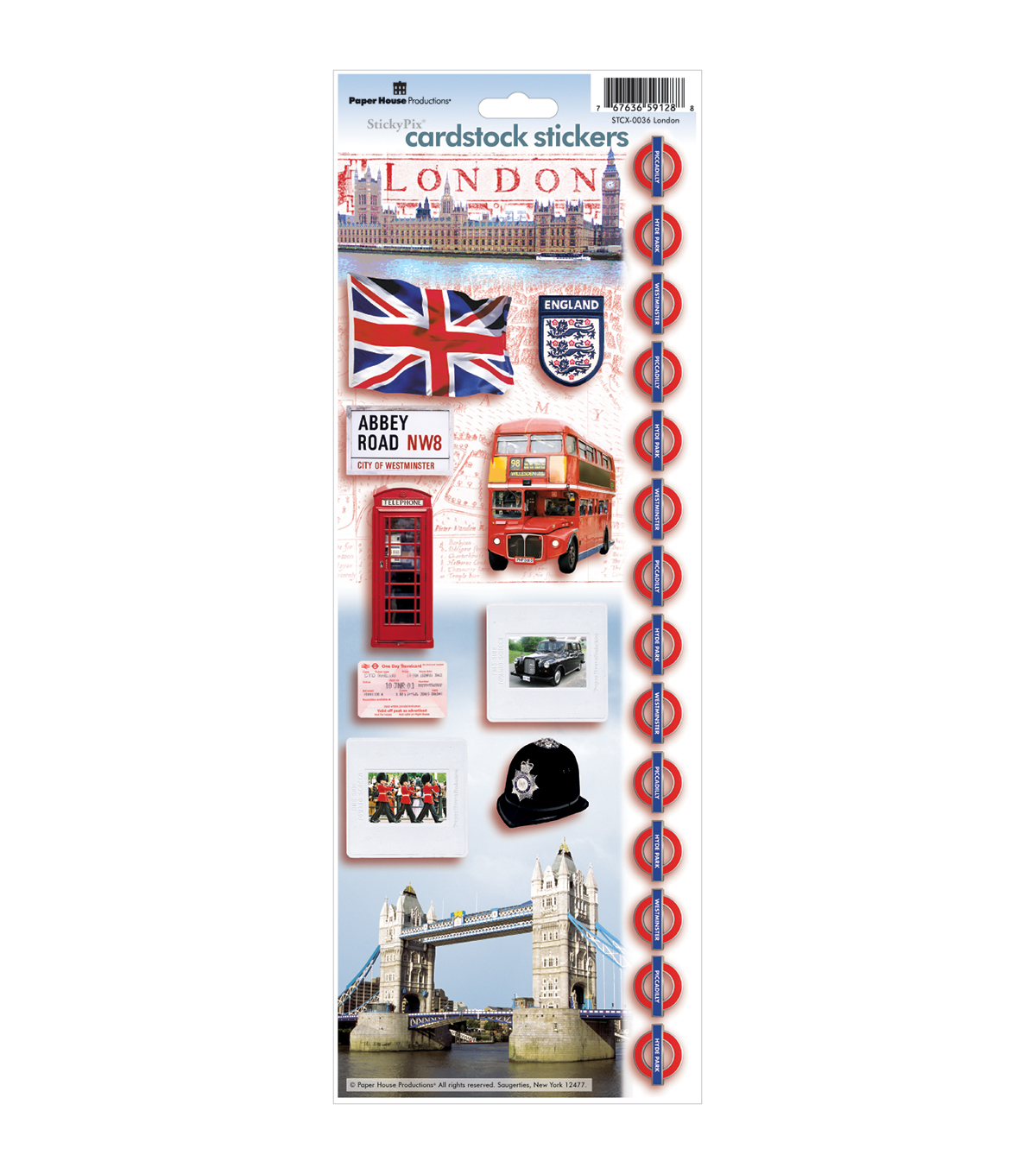 London -cardstock Stickers