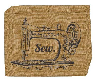 Small Burlap Machine Cover-Sewing Machine Print