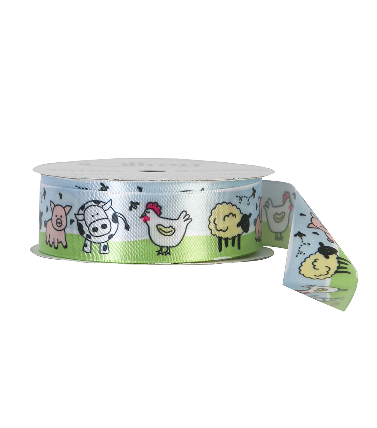 Offray 7/8\u0022x9\u0027 Farm Baby Animals Single Faced Satin Ribbon-Multi